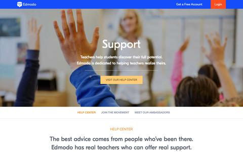 Screenshot of Support Page edmodo.com - Support – Edmodo - captured June 13, 2019