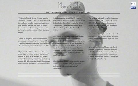 Screenshot of About Page mariosschwab.com - Marios Schwab|About - captured Sept. 30, 2014