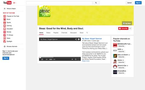 Screenshot of YouTube Page youtube.com - Steaz: Good for the Mind, Body and Soul.  - YouTube - captured Nov. 4, 2014