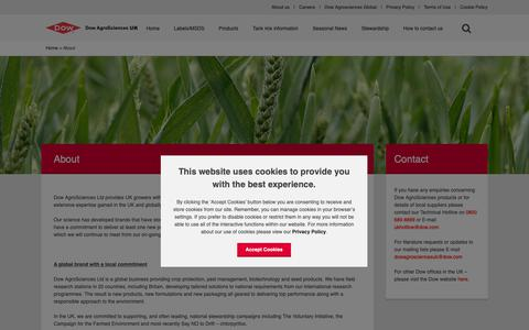 Screenshot of About Page dowagro.com - About Dow AgroSciences - captured Oct. 20, 2018