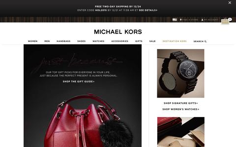 Screenshot of Home Page michaelkors.com - Michael Kors: Designer handbags, clothing, watches, shoes, and more - captured Dec. 21, 2015