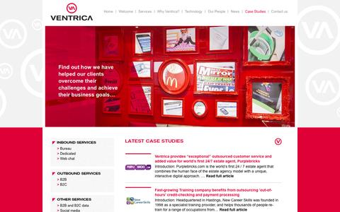 Screenshot of Case Studies Page ventrica.co.uk - Ventrica | Case Studies - captured Oct. 1, 2014