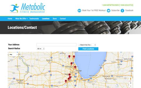 Screenshot of Locations Page metabolictrainers.com - Locations/Contact | Metabolic Trainers - captured Feb. 13, 2016