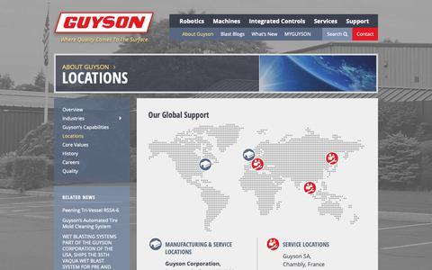 Screenshot of Locations Page guyson.com - Locations | Guyson - captured Dec. 16, 2018