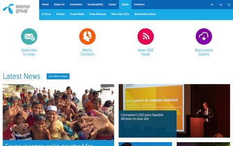 Screenshot of Press Page telenor.com - Telenor Group | Media - captured Dec. 11, 2015