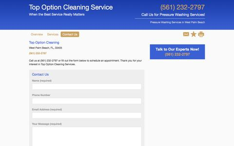 Screenshot of Contact Page powerwashpros.net - Pressure Washing - Top Option Cleaning Services - West Palm Beach - FL - captured Nov. 10, 2016