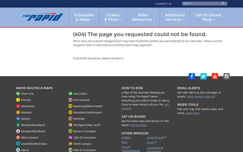 Screenshot of Contact Page ridetherapid.org - Error Page - captured Sept. 21, 2015