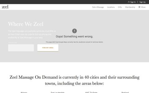 Screenshot of Locations Page zeel.com - Local Massage - See Our Massage Locations |  Zeel - captured Nov. 11, 2016