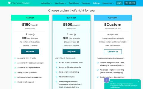Screenshot of Pricing Page interviewmocha.com - Interview Mocha Pricing | Cost Effective Skill Testing Solution - captured Jan. 4, 2019
