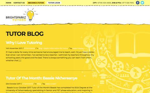 Screenshot of Blog brightsparkz.co.za - Tutor Blog - BrightSparkz Tutors - captured Nov. 15, 2017