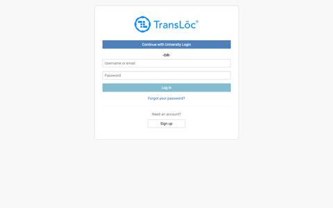 Screenshot of Login Page transloc.com - Log in - captured June 12, 2019