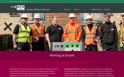 Screenshot of Jobs Page ensafe.co.uk - Working at Ensafe - Ensafe - captured Jan. 29, 2016