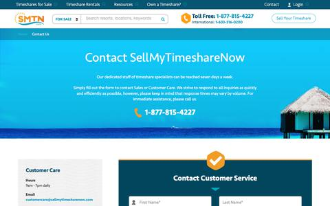Screenshot of Contact Page sellmytimesharenow.com - Contact Us | SellMyTimeshareNOW.com - captured Sept. 22, 2018