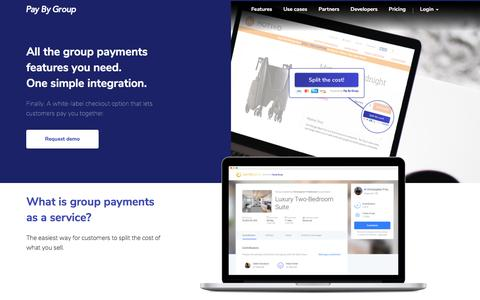 Screenshot of Home Page paybygroup.com - Pay By Group - Group Payments for Businesses - captured July 12, 2018