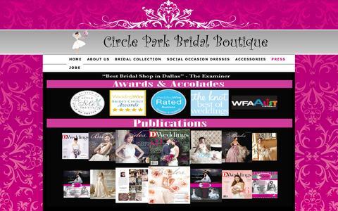Screenshot of Press Page circleparkbridal.com - Best Bridal Shop in Dallas, Find Wedding Gowns and Dresses — Circle Park Bridal Boutique - captured Oct. 2, 2014