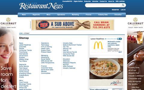 Screenshot of Site Map Page nrn.com - Sitemap   Nation's Restaurant News - captured Sept. 18, 2014