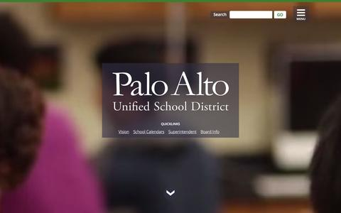 Screenshot of Home Page pausd.org - Palo Alto Unified School District   PAUSD - captured Jan. 25, 2016