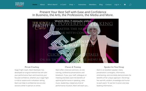Screenshot of Home Page stagefright.com - The Stage Fright Cure - The Stage Fright Cure - captured Feb. 22, 2016