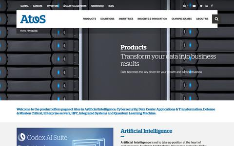 Screenshot of Products Page atos.net - Products - Atos - captured Feb. 7, 2019