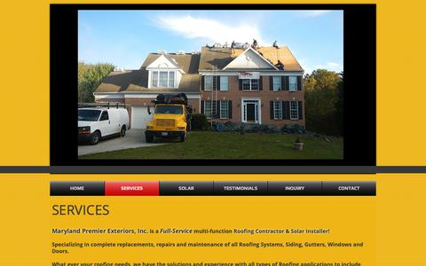 Screenshot of Services Page mdpremierexteriors.com - Services - captured Oct. 17, 2018