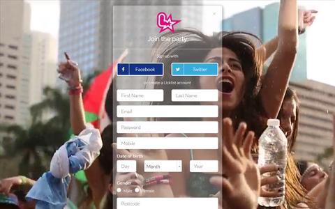 Screenshot of Signup Page licklist.co.uk - Licklist : Registration - captured Dec. 2, 2015