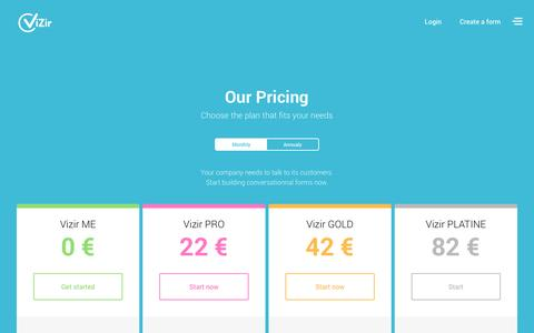 Screenshot of Pricing Page vizir.co - Vizir: éditeur de questionnaires en ligne gratuits - captured Dec. 26, 2016