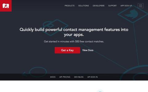 Screenshot of Developers Page fullcontact.com - Contact API, People API, & Address Book API for Contact Management - captured June 11, 2016
