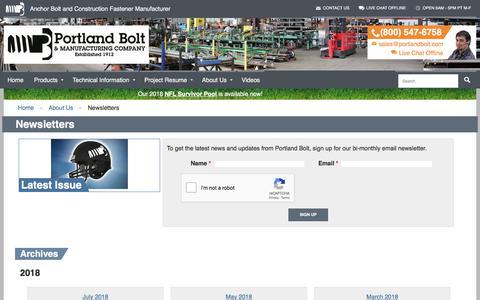 Screenshot of Signup Page portlandbolt.com - Newsletters Archive - Portland Bolt - captured Sept. 22, 2018