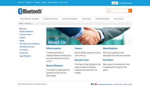 Screenshot of About Page bluetooth.com - About the Bluetooth SIG | Bluetooth Technology Website - captured Feb. 7, 2016