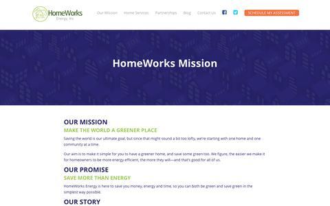 Screenshot of FAQ Page homeworksenergy.com - Our Mission   HomeWorks Energy   Homeworks Energy - captured July 22, 2018