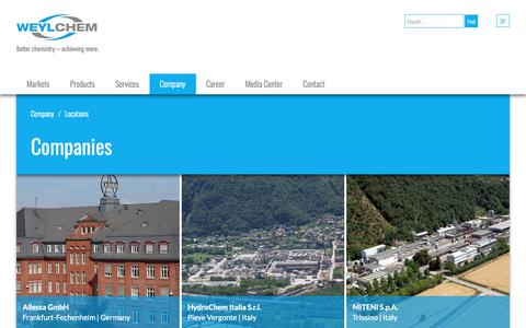Screenshot of Locations Page weylchem.com - Locations - The WeylChem Group - captured Oct. 3, 2018