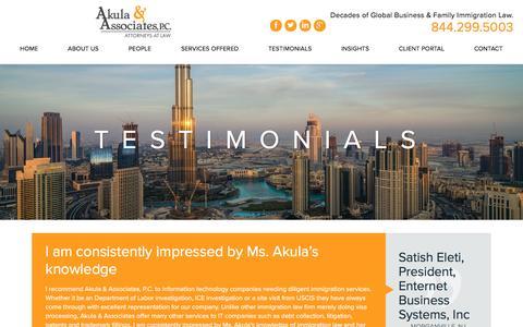 Screenshot of Testimonials Page akulalaw.com - Testimonials | Immigration Attorney | Nationwide - captured Nov. 20, 2016