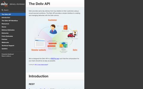 Screenshot of Developers Page deliv.co - Deliv APIv2 Documentation - captured July 3, 2015