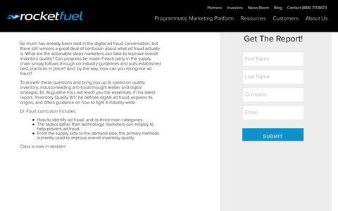 Screenshot of Landing Page rocketfuel.com - Inventory Quality 101 - captured Oct. 12, 2016