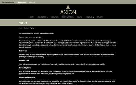 Screenshot of Terms Page axionwatches.com - Terms - Axion Pilots Watches - captured Oct. 4, 2014
