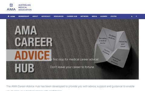 Screenshot of Jobs Page ama.com.au - AMA Career Advice Hub | Australian Medical Association - captured April 8, 2016