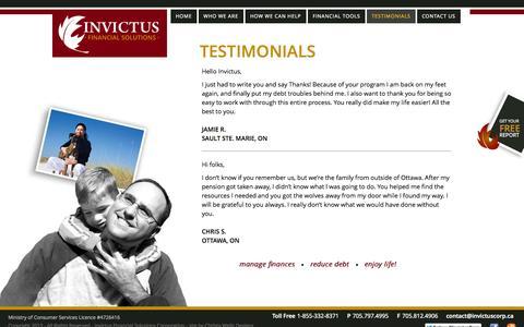 Screenshot of Testimonials Page invictuscorp.ca - Invictus -- Testimonials - captured Oct. 6, 2014