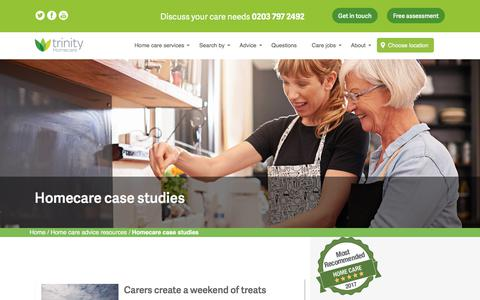 Screenshot of Case Studies Page trinityhomecare.co.uk - Case studies and interviews about our Trinity homecare services and roles - captured Oct. 17, 2017