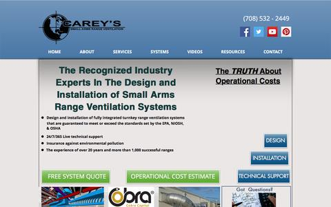 Screenshot of Home Page careyscentral.com - Carey's Gun Range Ventilation | Tinley Park, IL - captured Sept. 26, 2018