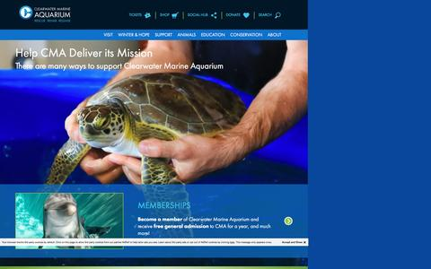 Screenshot of Support Page seewinter.com - Support | Clearwater Marine Aquarium - captured March 13, 2017