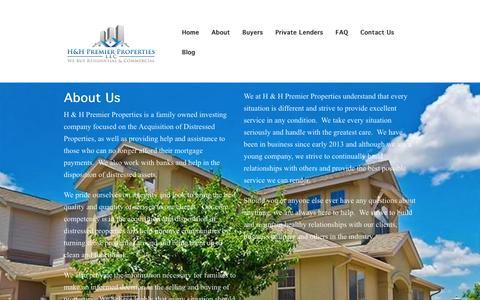 Screenshot of About Page hhpremierproperties.com - About | H & H Premier Properties LLC - captured Jan. 24, 2016