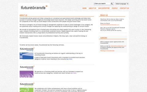 Screenshot of About Page futurebrands.co.in - Futurebrands: Private Fashion Brands, E-commerce Branding, Digital, Virtual Ethnography, Think Stream - captured Oct. 6, 2014