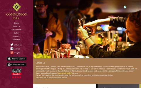 Screenshot of Home Page communionbar.com - Communion Bar - Artisan cocktails & exceptional live music inspired by our South London roots. - captured Sept. 30, 2014