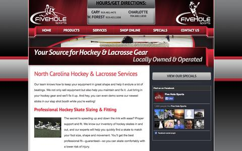 Screenshot of Services Page fiveholesports.com - NC Hockey & Lacrosse Services: Skate Sharpening, Fitting | Five Hole Sports - captured Sept. 30, 2014