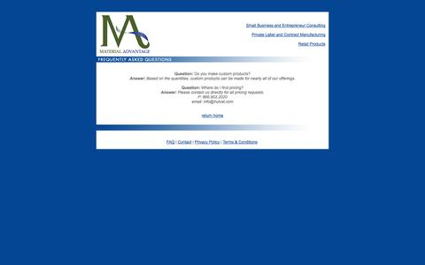 Screenshot of FAQ Page amaterialadvantage.com - 2020 Consulting | Small Business and Entrepreneur Consulting  |Contract Manufacturing and Private Label | Retail Products - captured Oct. 4, 2014
