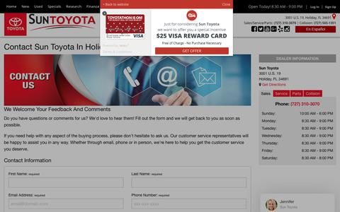 Screenshot of Contact Page suntoyota.com - Contact Sun Toyota in Holiday, serving Wesley Chapel & Tampa - captured Dec. 11, 2018