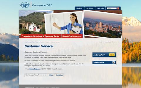 Screenshot of Support Page firstam.com - Customer Service - First American Title Insurance - Utah - Products - Agent - captured Oct. 20, 2018