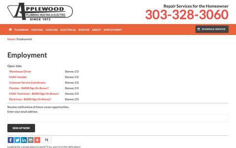 Screenshot of Jobs Page applewoodfixit.com - Employment   HVAC, Electrician & Plumbing Jobs   Applewood - captured Oct. 3, 2018