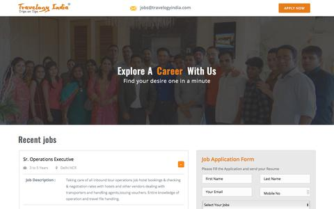 Screenshot of Jobs Page travelogyindia.com - Jobs in Travel and Tourism Hospitality Industry - captured Feb. 18, 2018