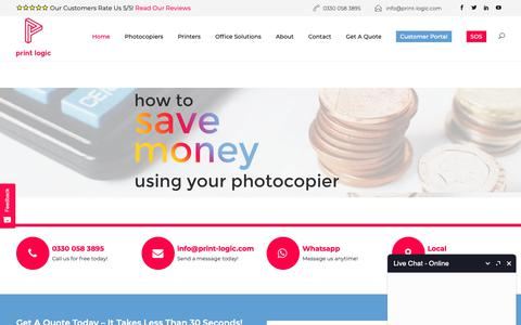 Screenshot of Home Page print-logic.com - Photocopier Leasing & Rentals   The Best Deals From £20pm   Print Logic - captured Sept. 29, 2018
